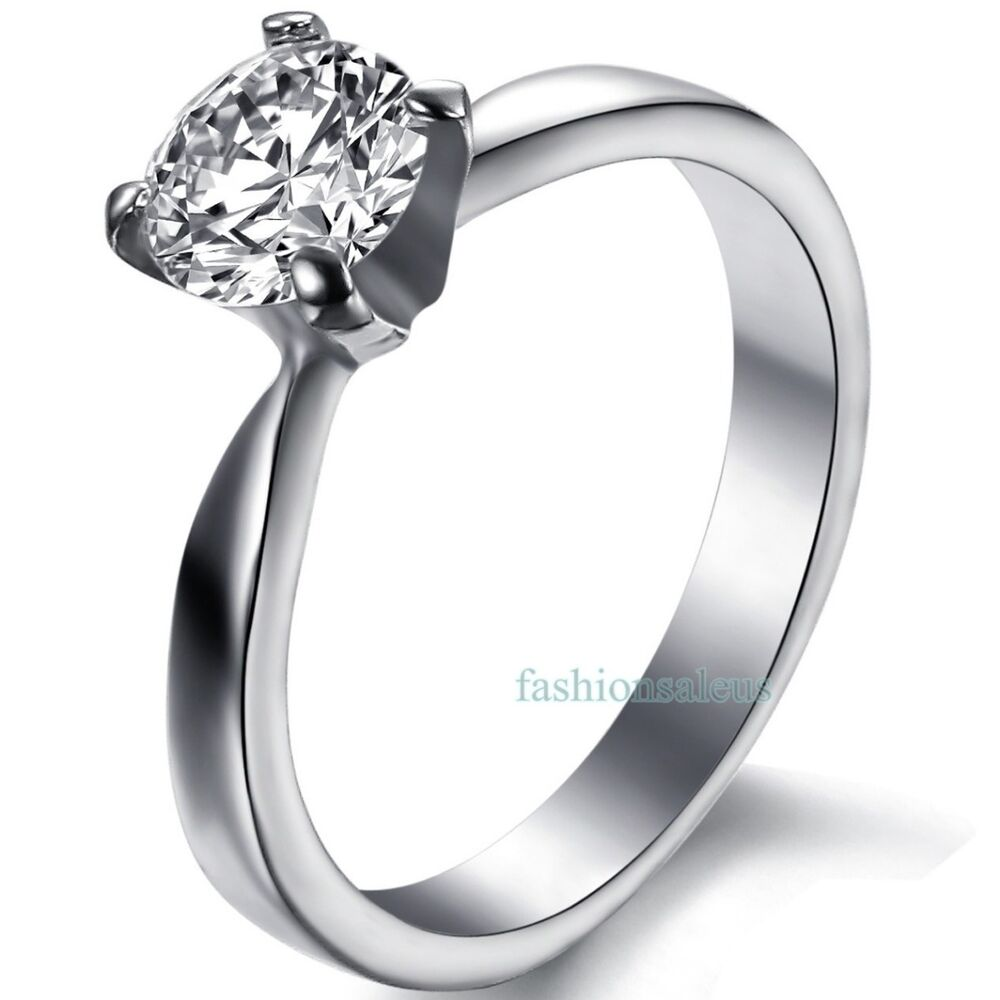 Stainless Steel Cubic Zirconia Womens Solitaire Ring Wedding Engagement Band
