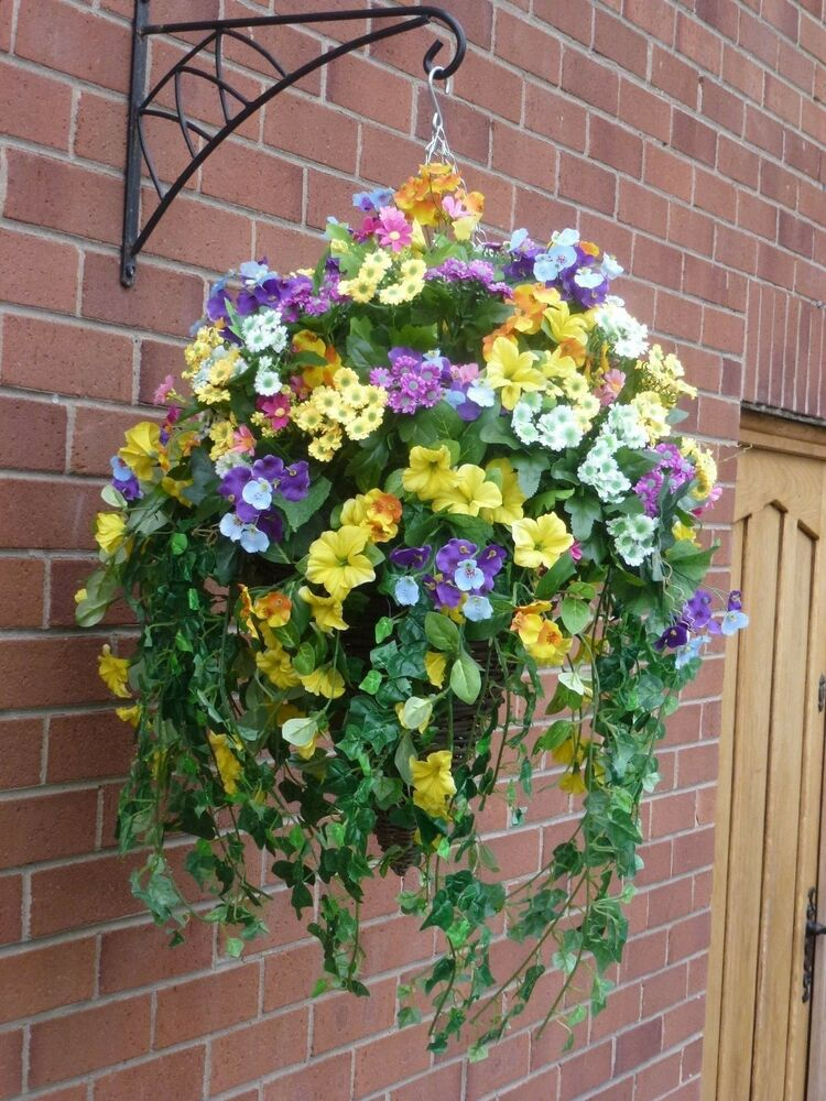 Led Hanging Flower Baskets : Large hanging baskets with artificial flowers l