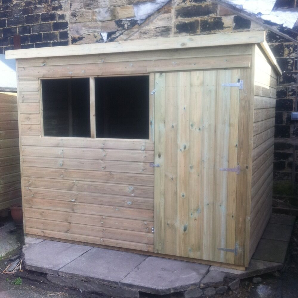 8x6 garden shed pent roof pressure treated store tanalised for Garden shed 8x6