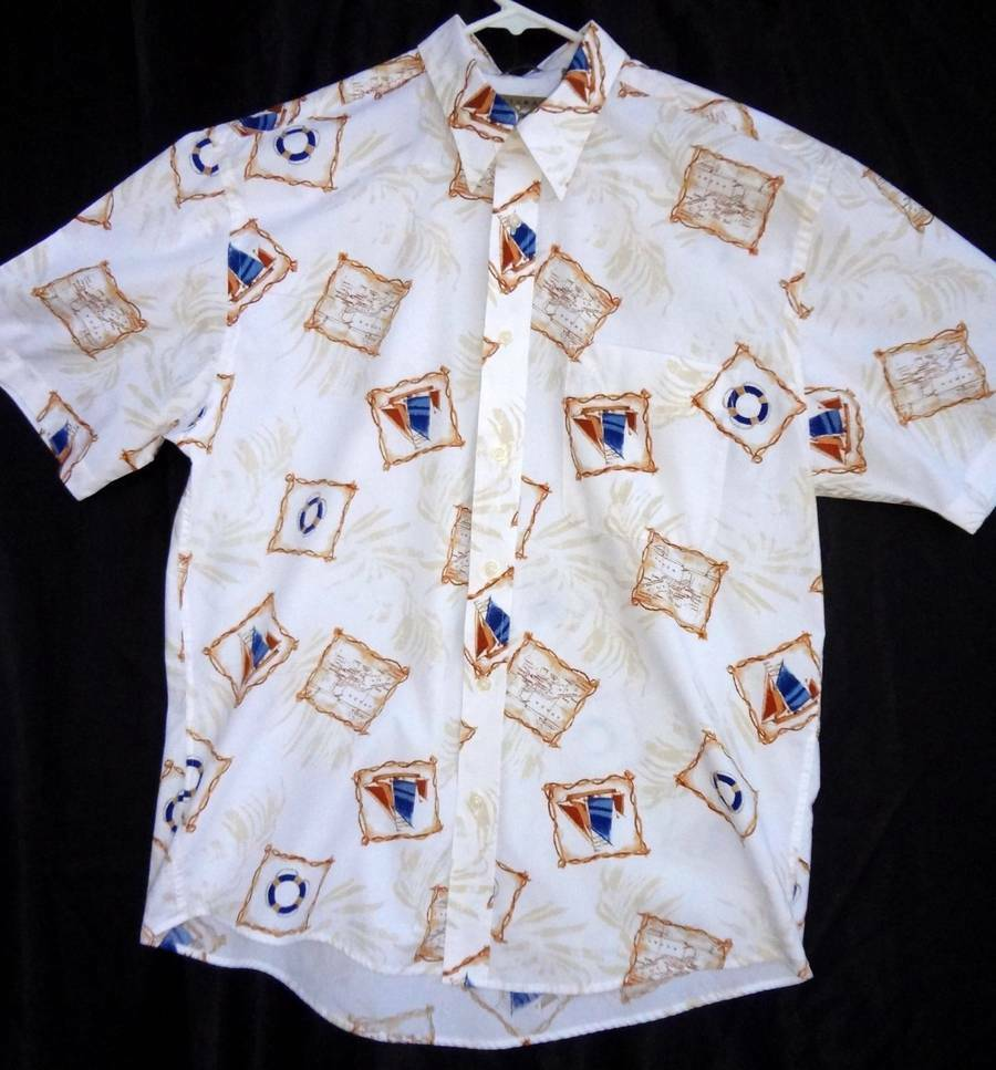 Natural issue nautical sailing hawaiian crisp cotton for Crisp white cotton shirt