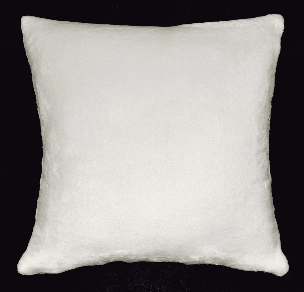 fa24a white soft short fleece plain color cushion cover pillow case custom size ebay. Black Bedroom Furniture Sets. Home Design Ideas
