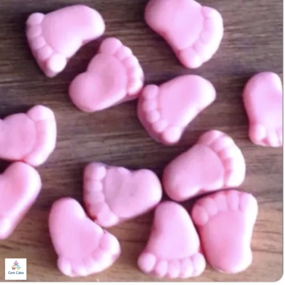 30 edible pink baby feet girl shower cake decorations toppers christening sugar ebay. Black Bedroom Furniture Sets. Home Design Ideas
