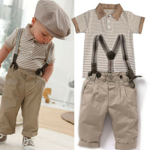 Baby Boys Toddlers Striped T Shirt Braces Pants Trousers