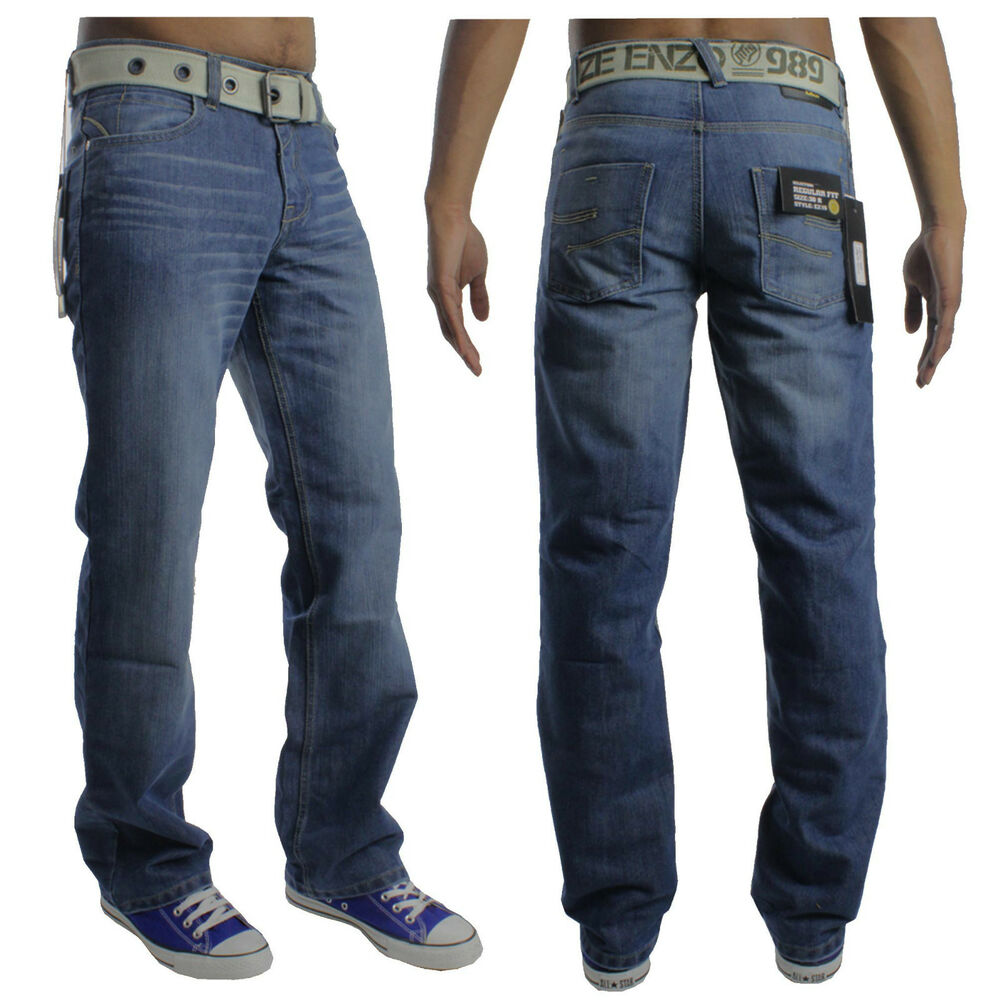 bnwt new mens enzo jeans free belt blue pants waist size 28 30 32 34 36 40 ez15 ebay. Black Bedroom Furniture Sets. Home Design Ideas
