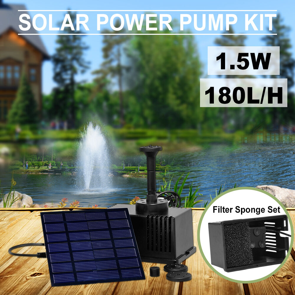 Solar panel power fountain garden pond 180l h pump kit for Solar water filter for ponds