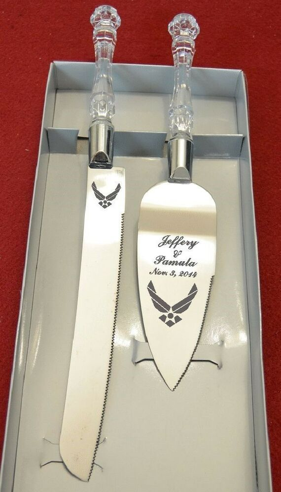 air force wedding cake knife and server free names and date ebay. Black Bedroom Furniture Sets. Home Design Ideas