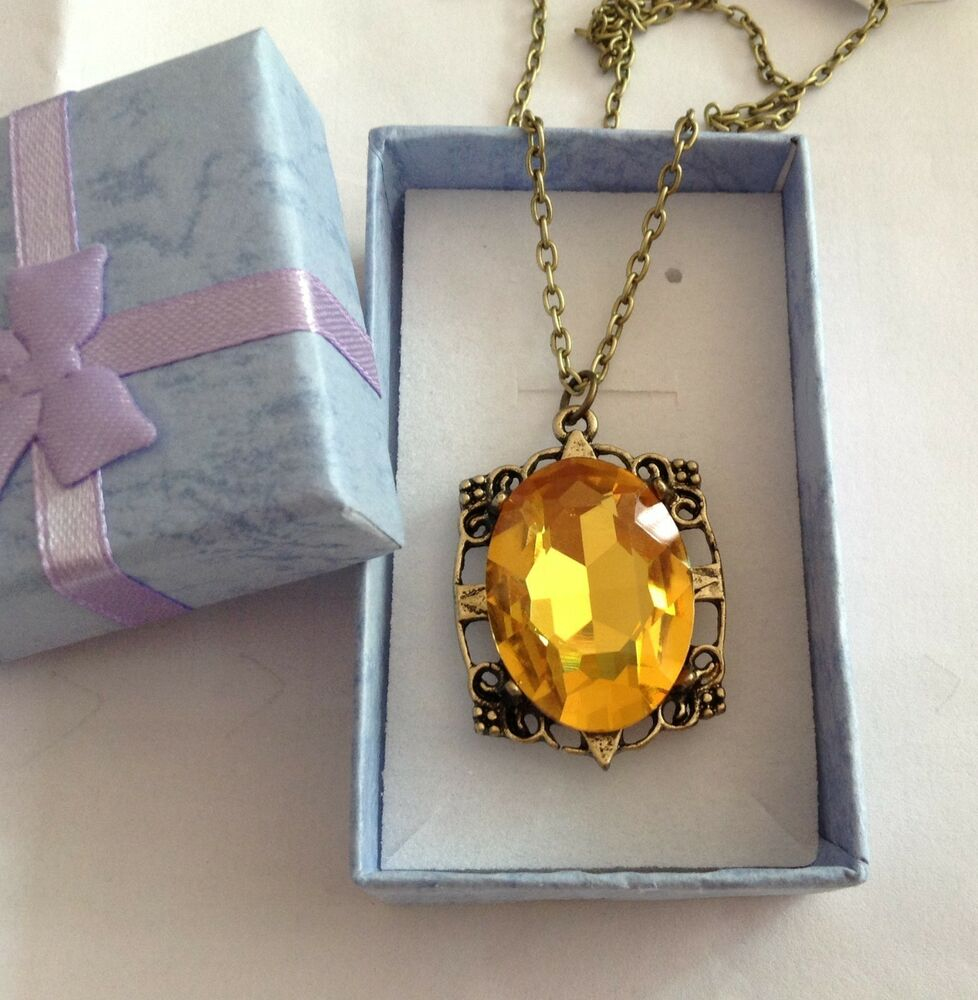 New The Vampire Diaries Bonnie's Necklace Yellow Crystal ...
