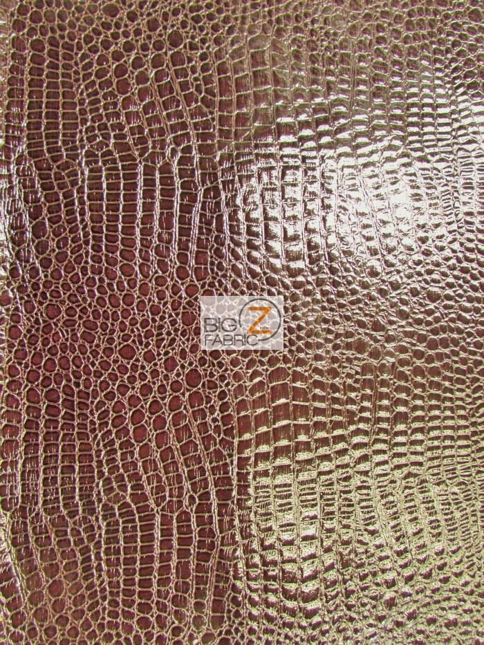 Shiny alligator embossed faux leather vinyl fabric for Red leather fabric