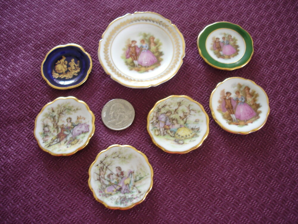 limoges miniature plates 7 romantic victorian couples ebay. Black Bedroom Furniture Sets. Home Design Ideas