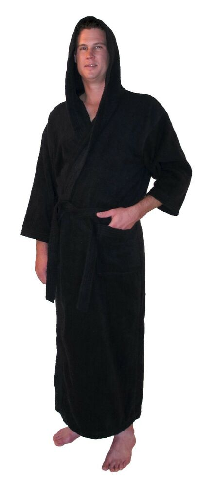 hooded bathrobe turkish cotton terry full ankle length mens womens robe black ebay. Black Bedroom Furniture Sets. Home Design Ideas