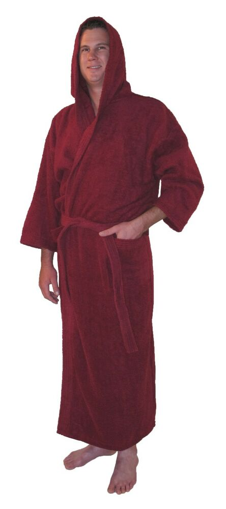hooded bathrobe turkish cotton terry full length mens womens warm robe burgundy ebay. Black Bedroom Furniture Sets. Home Design Ideas