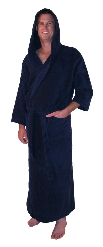 hooded bathrobe turkish cotton terry full length mens womens robe navy blue ebay. Black Bedroom Furniture Sets. Home Design Ideas