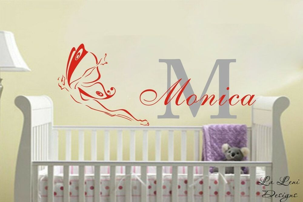 Diy Name Wall Art For Nursery : Custom personalised name butterfly wall stickers kids