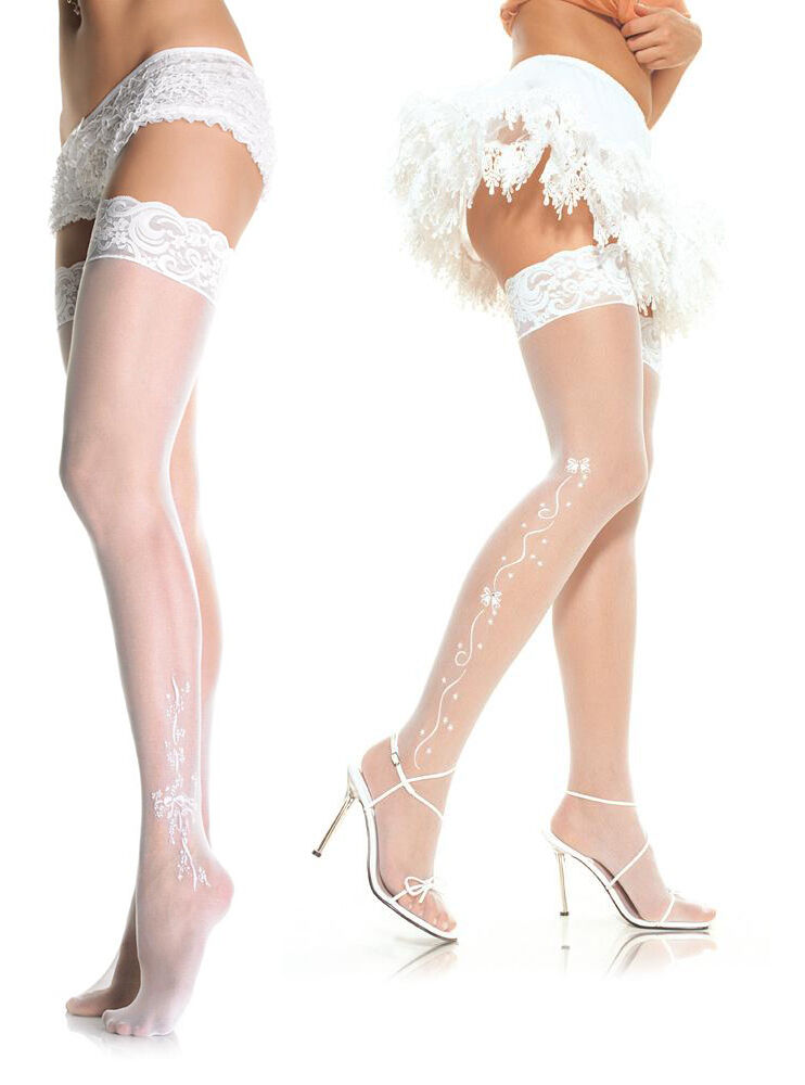 Brides stocking tops exposed Likely... The