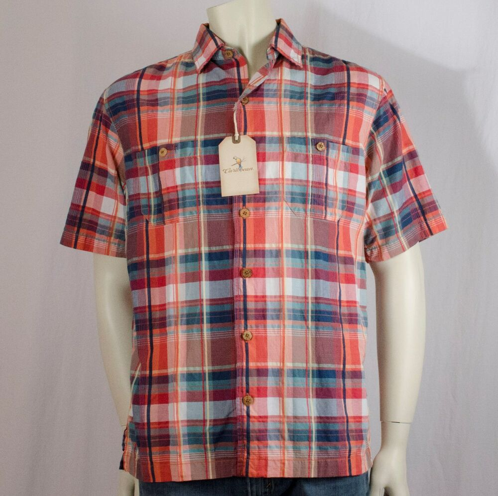 Caribbean mens sizes m l xl plaid blue red coral shirts for Coral shirts for guys