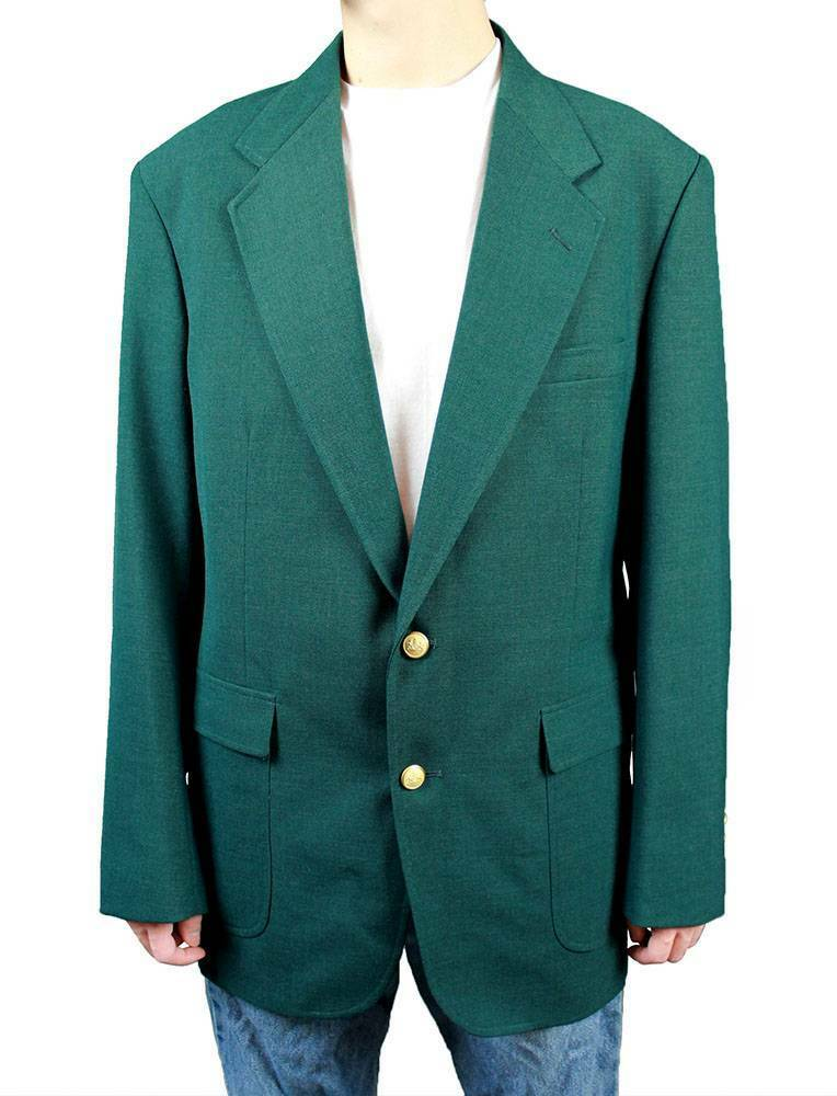 Vintage Mens Blazer 42L Dark Teal Green Wool Gold Buttons Jacket Sports Coat | EBay