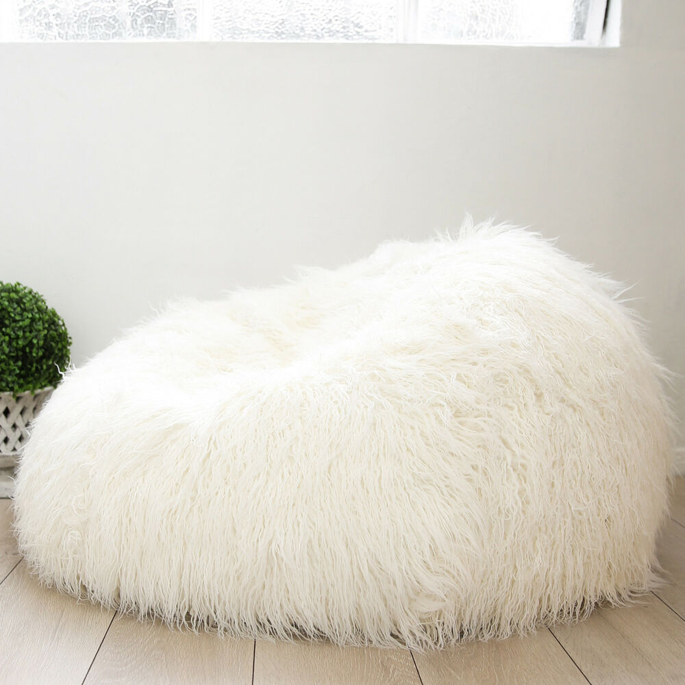 Deluxe Shaggy Fur Bean Bag Cover Soft Cloud Chair Large