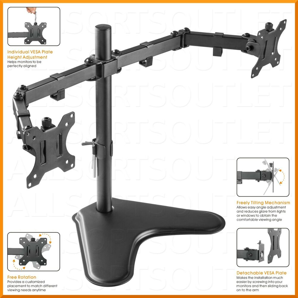 Dual Double Lcd Monitor Stand Mount Arm Freestanding
