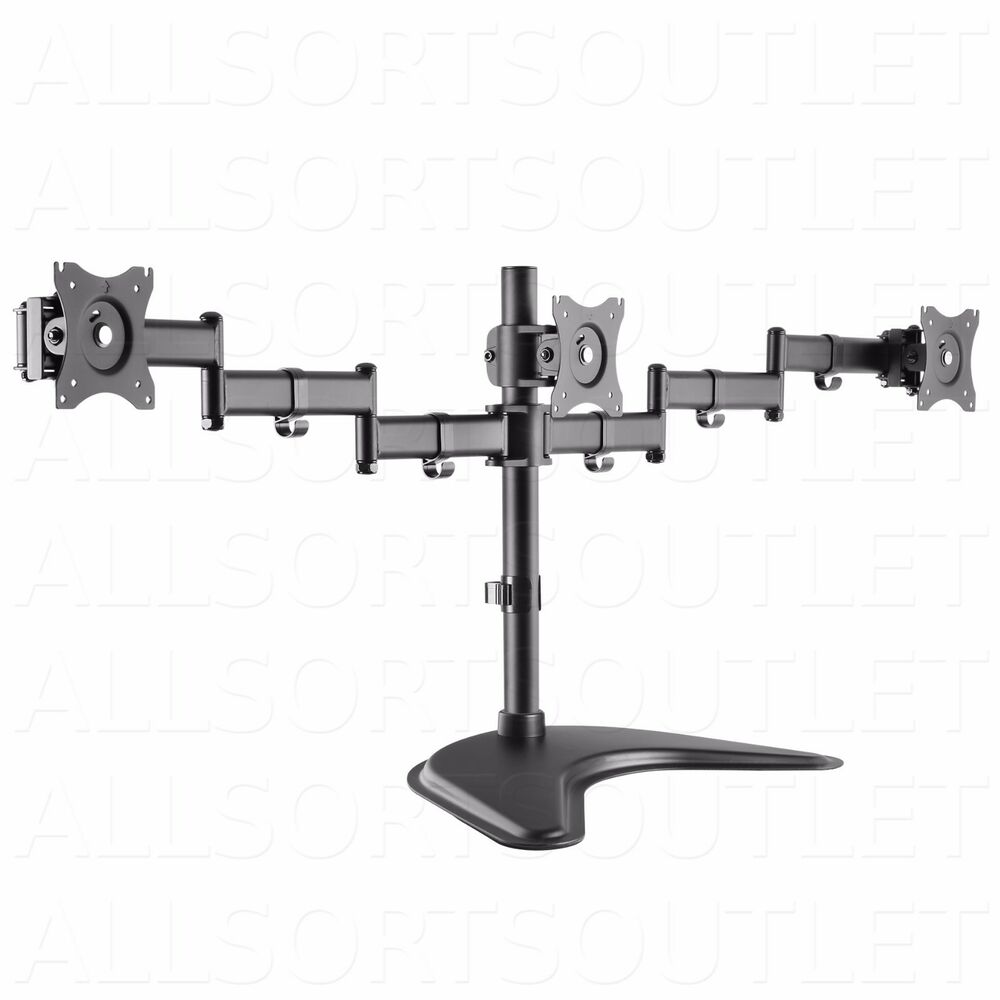 Triple Lcd Monitor Desk Stand Mount Arm Freestanding