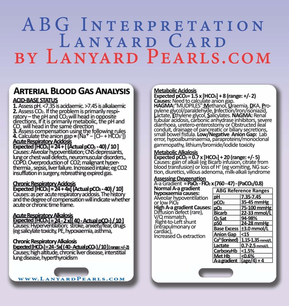 Medical Medicine Reference Card Abg Arterial Blood Gas