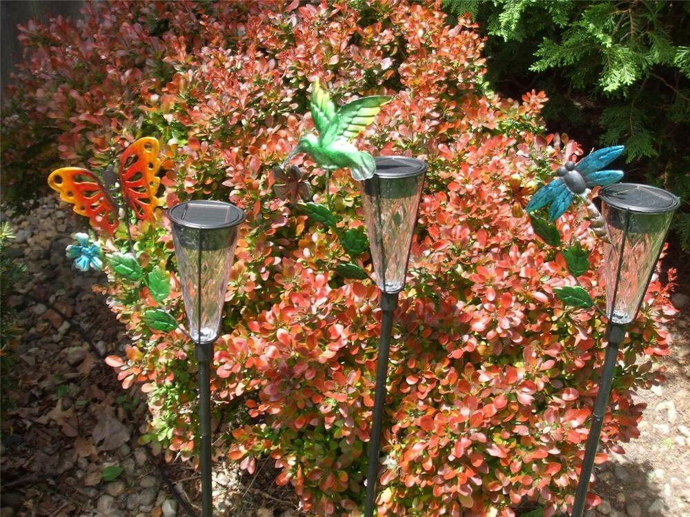Solar Power Color Changing Butterfly Dragonfly Hummingbird Garden Stake New Ebay