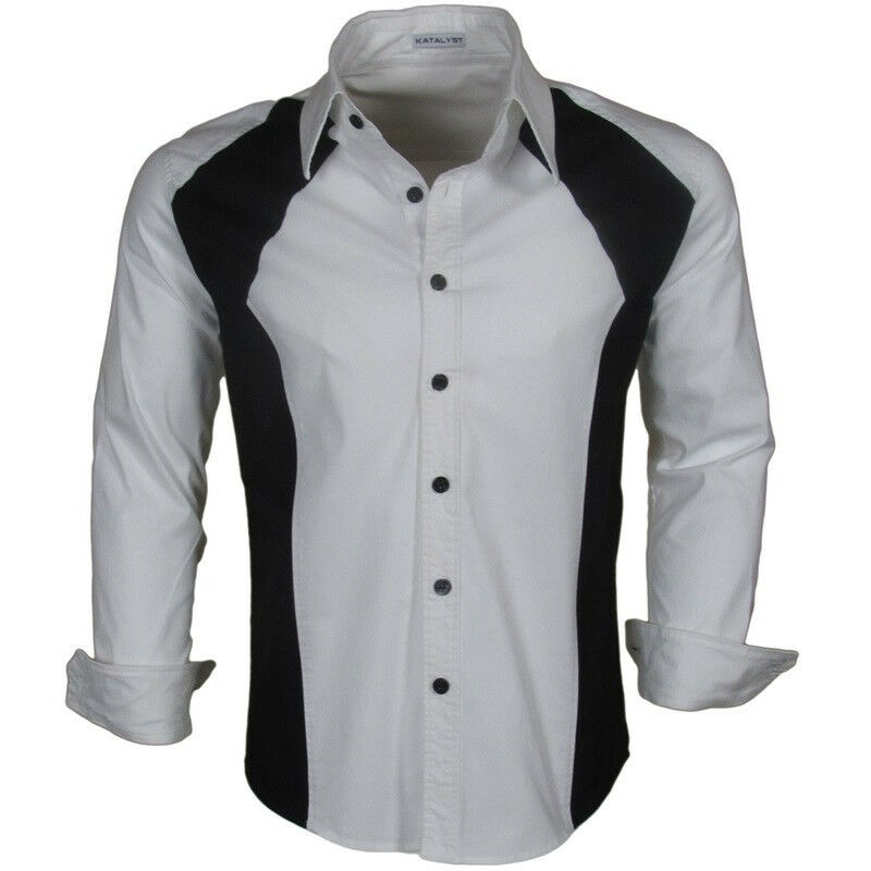 Katalyst clothing haze mens white fitted button down shirt for Mens white button down dress shirts