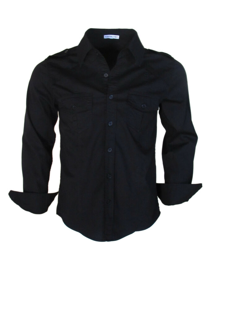 Katalyst clothing stingaree mens black fitted button down for Fitted dress shirts for men