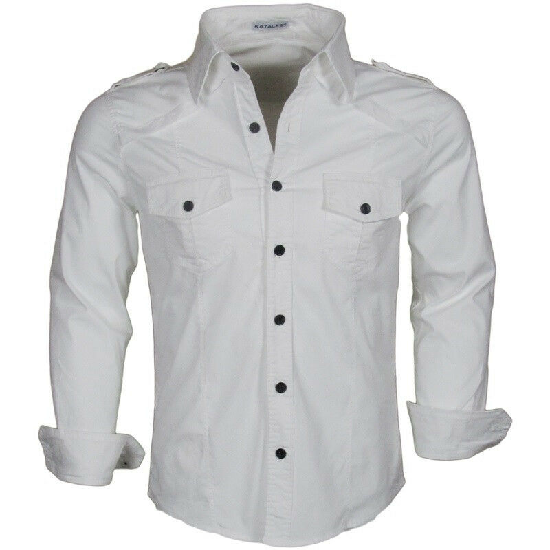 Katalyst clothing honorable discharge mens white fitted for Mens white button down dress shirts