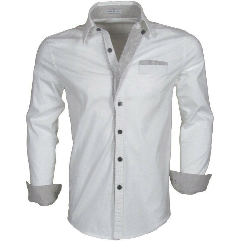 katalyst clothing drais mens white fitted button down