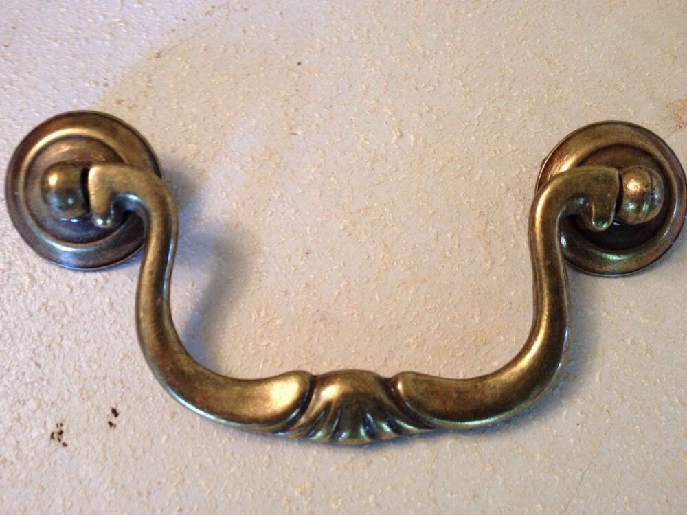 10 Antique Brass Knocker Bail Swan Neck Cabinet Drawer