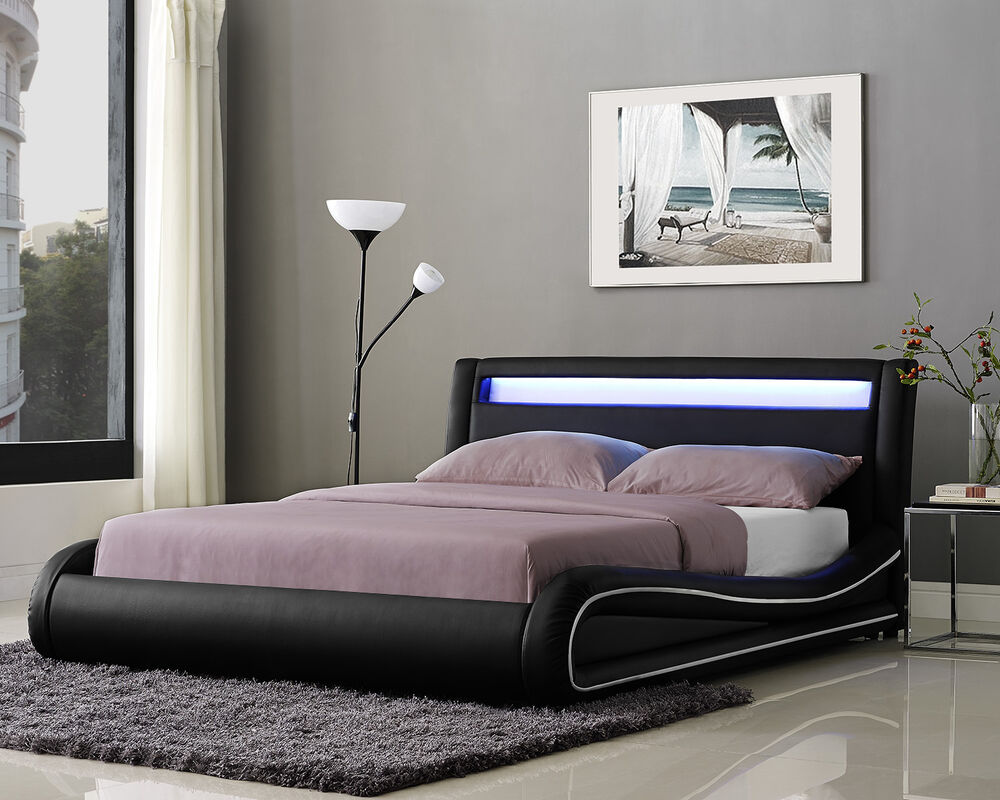 Led double bed frame or king size faux leather bed led for Lit queen size taille