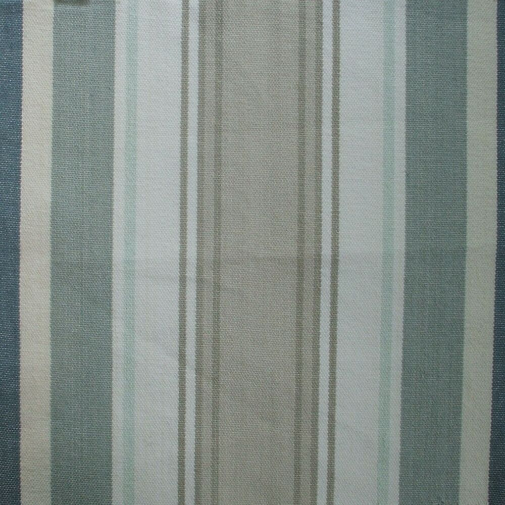 72 Bridgewater Spa Green Stripe Fabric Shower Curtain Cotton Taupe Blue Ebay