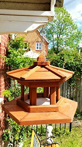 New Large Wooden Hexagonal Bird Feeder Table Feeding