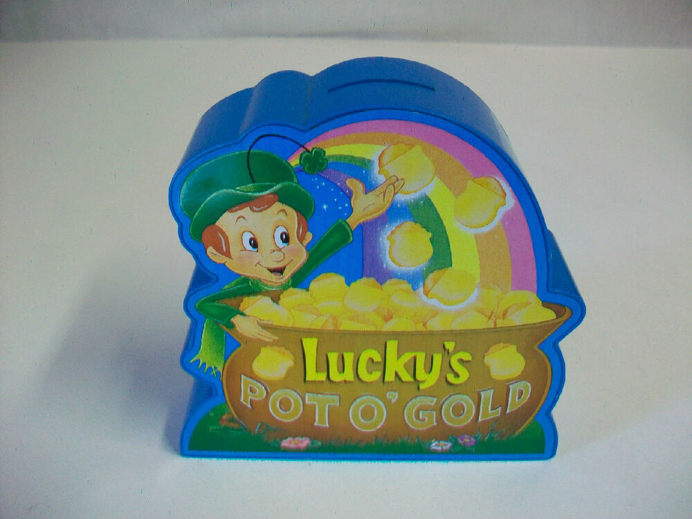 vintage lucky s pot o gold plastic coin bank lucky charm cereal ebay