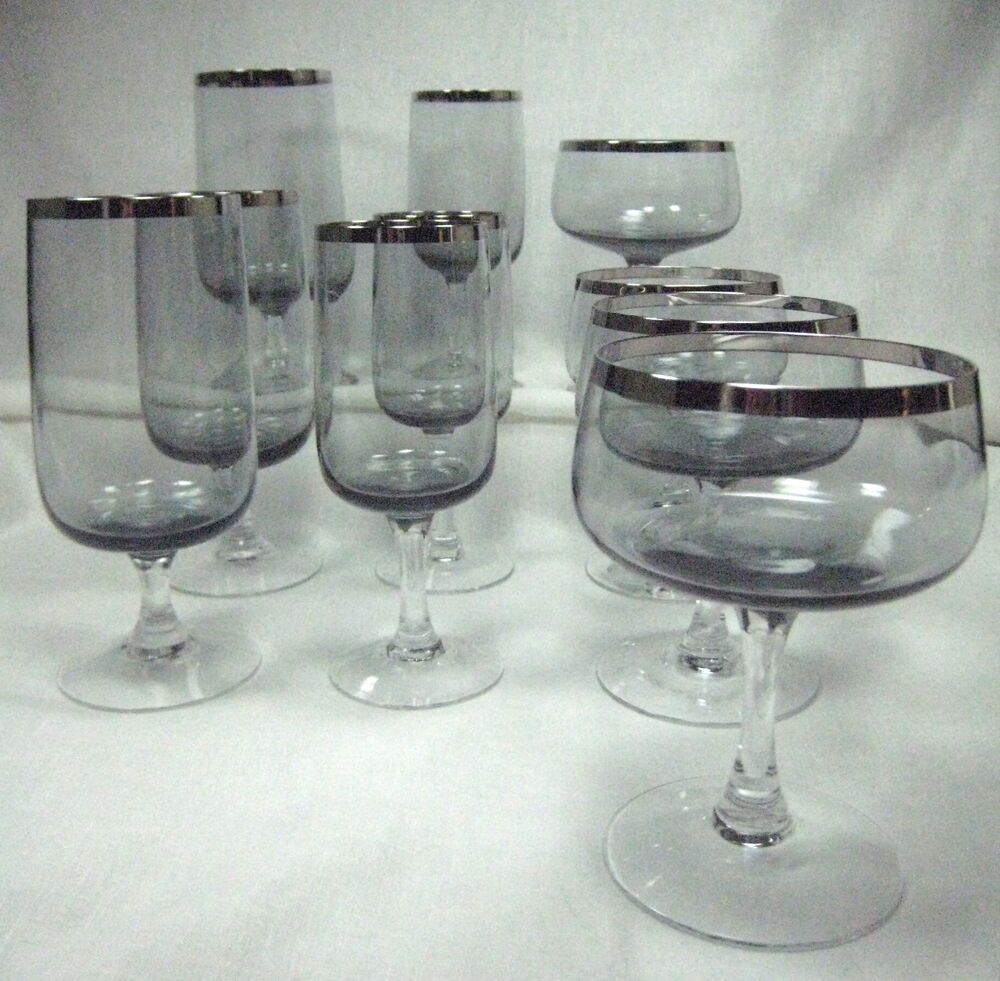 10 stemmed thick platinum trim glasses smoke bowl clear stem water wine sherbet ebay - Wine glasses with thick stems ...