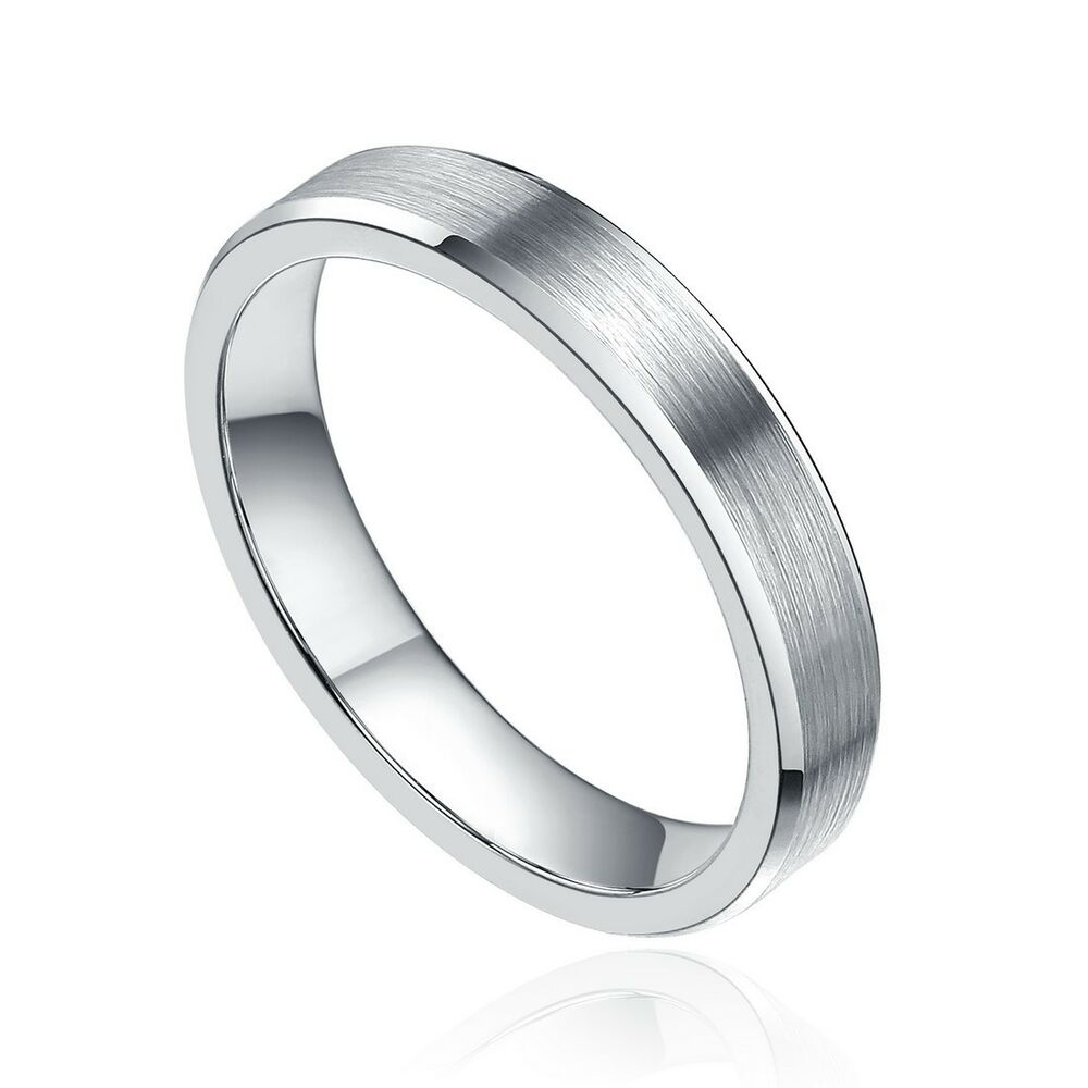 4mm tungsten ring brush wedding band men 39 s women 39 s jewelry silver half size 4 14 ebay. Black Bedroom Furniture Sets. Home Design Ideas