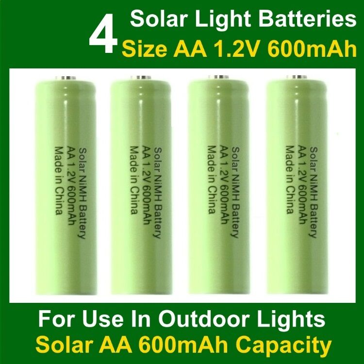 4 X Aa Solar Light Batteries Rechargeable 1 2v 600mah Nimh