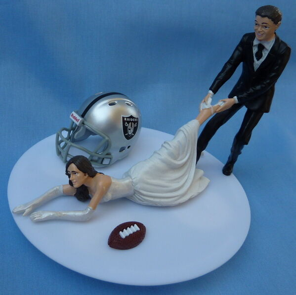 sports wedding cake toppers wedding cake topper oakland raiders football themed groom 7624