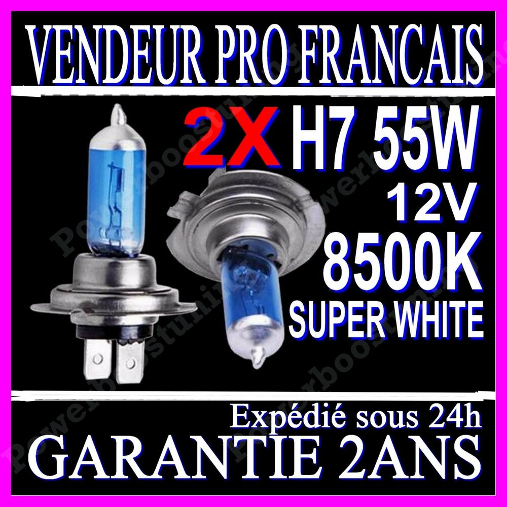 2 ampoule paire lampe halogene feu phare xenon gaz super white h7 55w 8500k 12v ebay. Black Bedroom Furniture Sets. Home Design Ideas