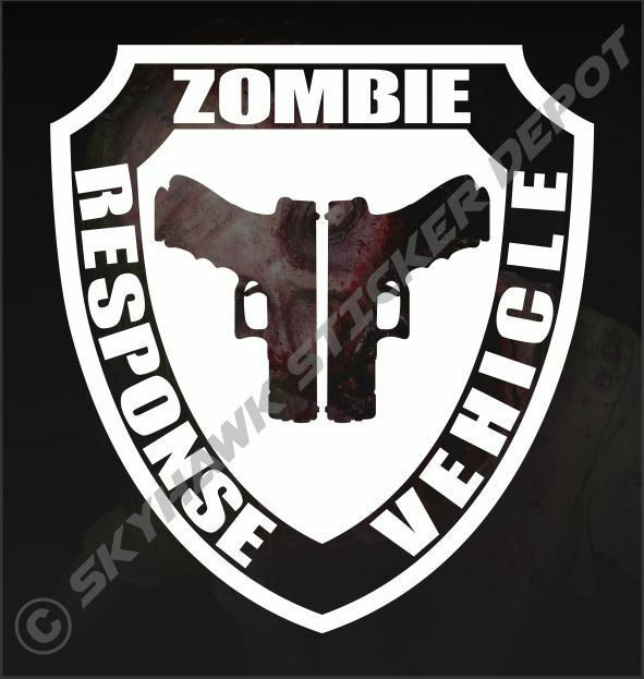 ZOMBIE RESPONSE VEHICLE Badge Vinyl Sticker Decal Walking ...
