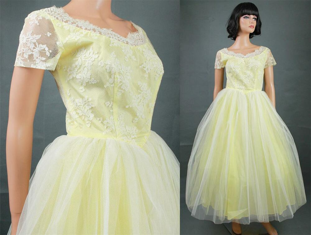 50s Prom Dress S Vintage Long Yellow White Tulle Floral