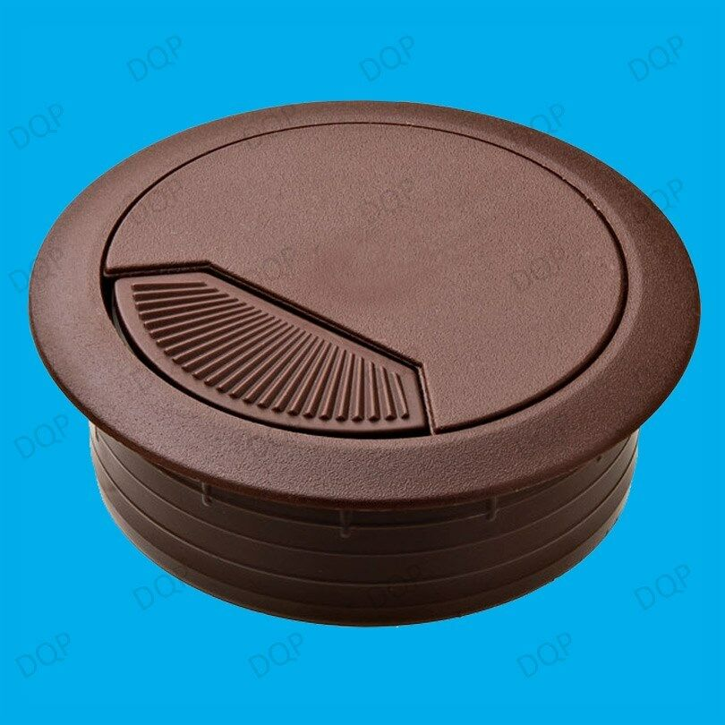 4x 60mm Brown Desk Worktop Counter Cable Tidy Surface Hole Insert For