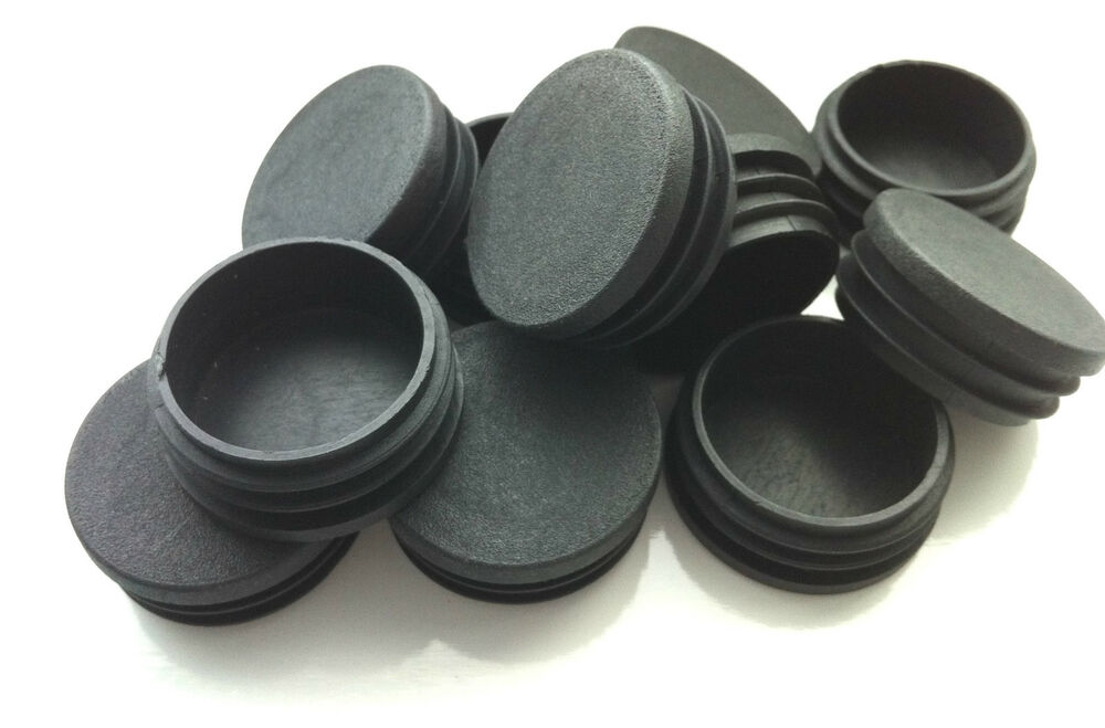 Plastic blanking end caps black round tube inserts mm