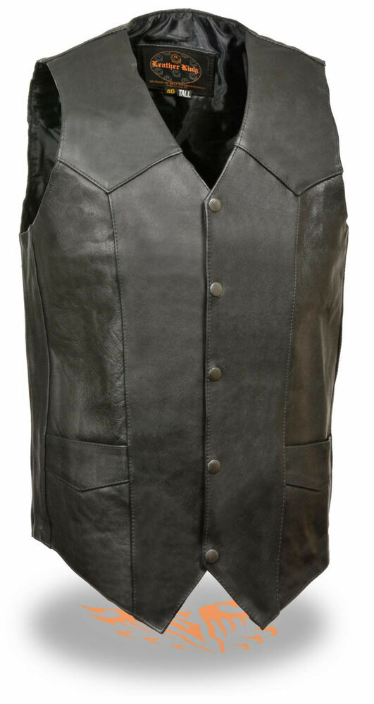 Mens Tall Leather Classic Snap Front Black Biker Vest | eBay