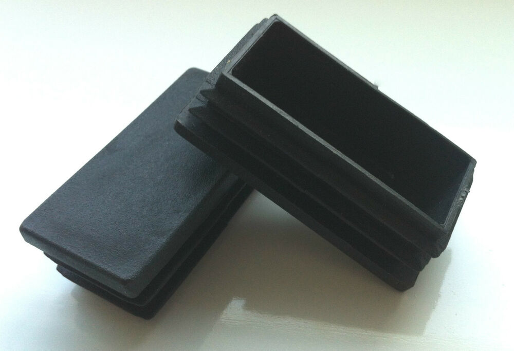 Black rectangle plastic blanking end caps tube inserts