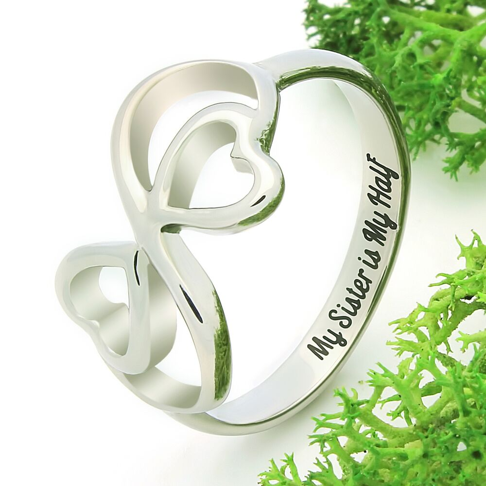 Heart Ring For Sister Double Infinity Ring Promise Ring