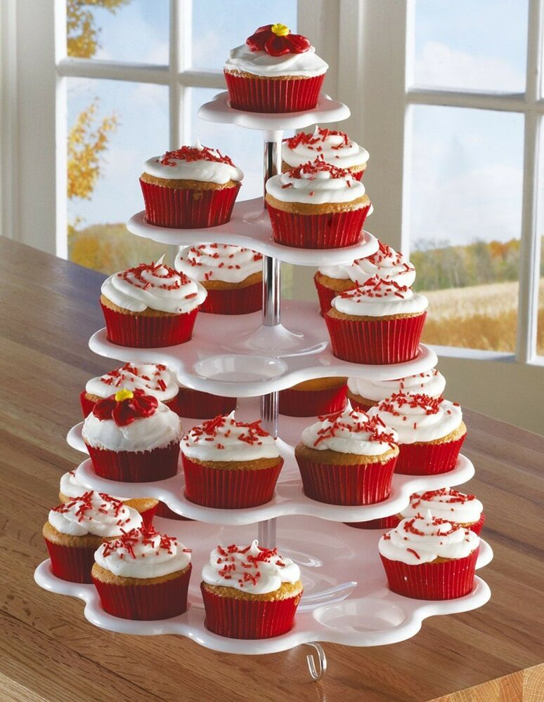 5 tiered tower white cupcake holder stand 5 tier cupcake. Black Bedroom Furniture Sets. Home Design Ideas