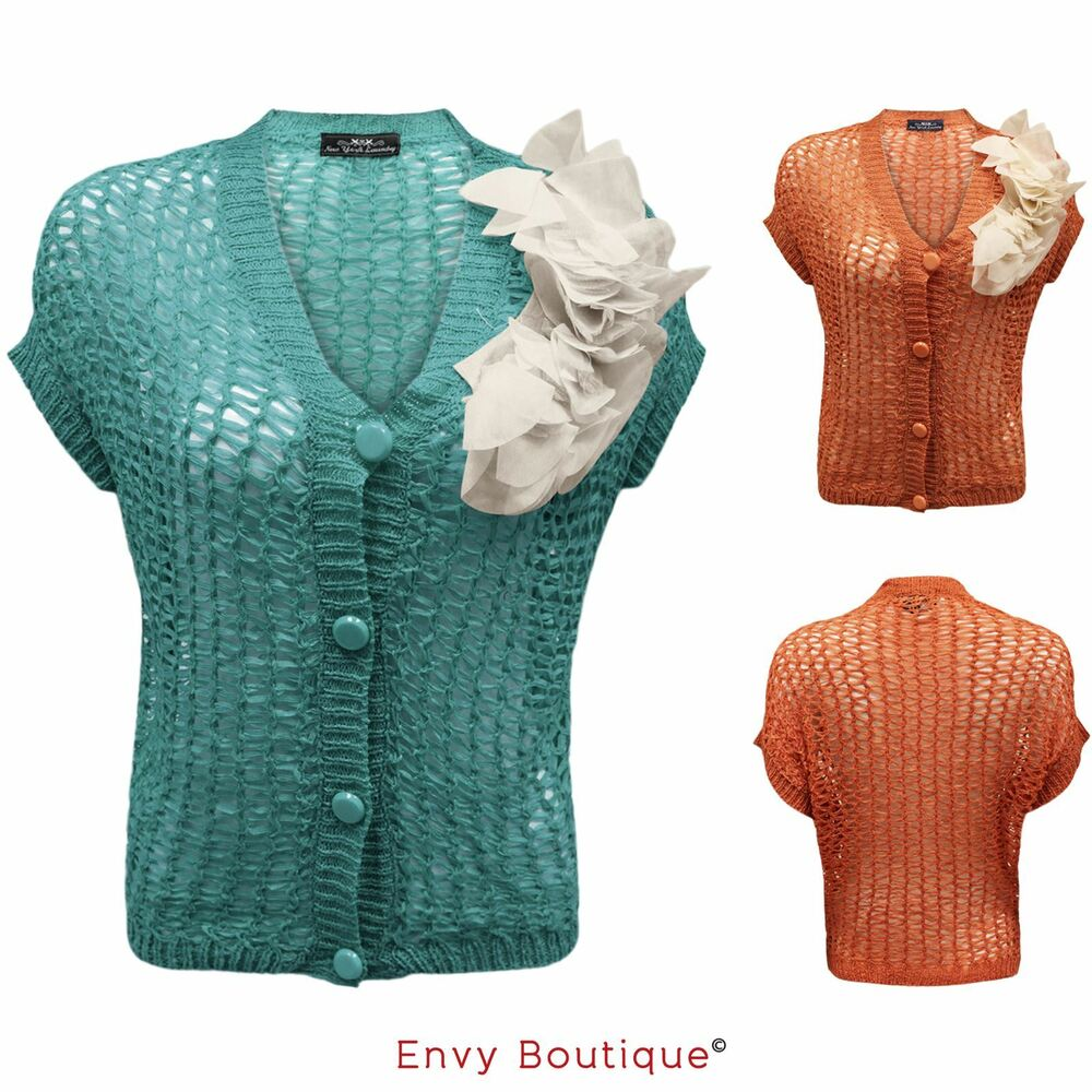 Knitting Pattern Ladies Short Sleeve Jumper : NEW WOMENS LADIES KNITTED MESH BUTTON SHORT SLEEVE CROCHET SHRUG JUMPER CARDI...