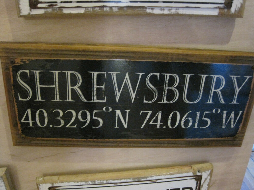 Shrewsbury sign custom wooden sign beach decor for Sign decoration