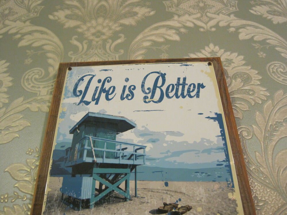 "Wooden Coastal Decor: ""Life Is Better"" Sign"